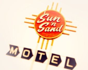 Route 66 Photograph, Vintage Motel Sign Art, Retro Art Photography - Sun and Sand, Bright Orange, Golden Yellow, Off White, Colorful Decor