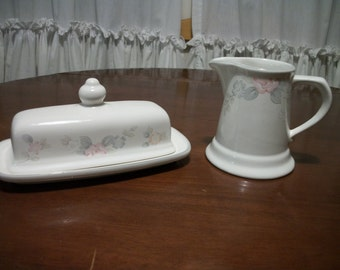 Vintage Pfaltzgraff Wyndham  Creamer and 1/4 lb Covered Butter Dish