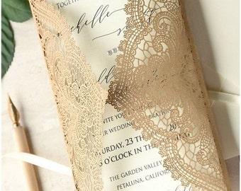 Chantilly Lace Laser cut wedding invitations sample