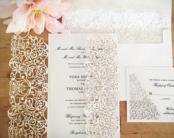 Spring Vines laser Wedding Invitation