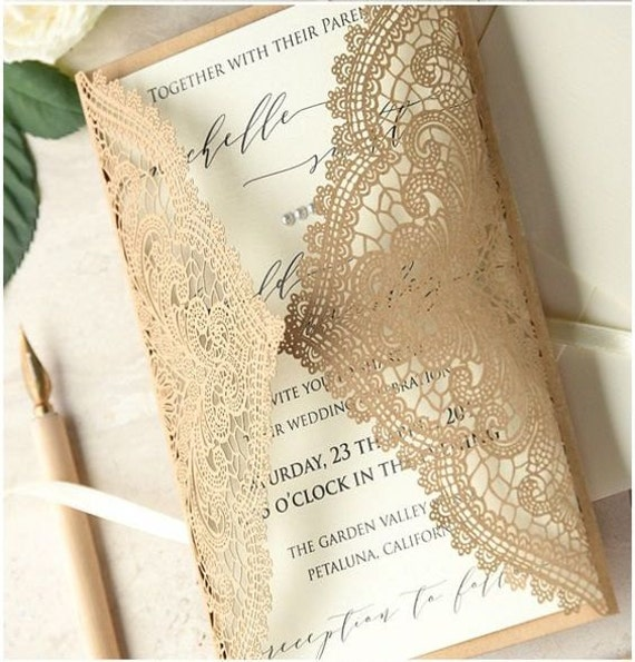 Chantilly Lace Laser cut wedding invitations