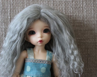 Sweet Silvery Grey mohair wig for Littlefee / other YoSD sized / Unoa / Enyo doll