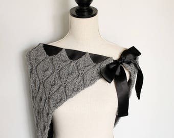 Knitted Leaf Design Grey Shawl with Black Satin Ribbon