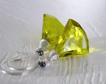 Yellow Earrings, Yellow Quartz Earrings, Sterling Silver, Yellow Silver Earrings, Quartz Earrings, Long Dangle Earrings - Liquid Sunshine