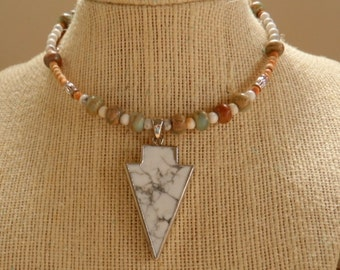 New! - choker, beaded, modern, wrap style jasper choker necklace
