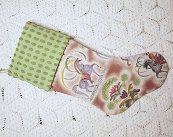 Whimsical and Stunning Sascha Brastoff Design Vintage Barkcloth and Vintage Chenille Heirloom Christmas Stocking