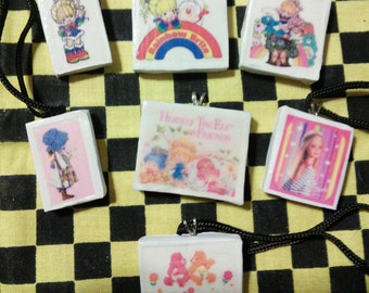 Lot of Polymer Clay Pendant Vintage Cartoon Rainbow Brite Care Bears Holly Hobby Elf Herself