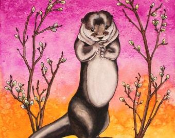 Mrs. Otter Archival Watercolor Art print, Nursery art print, Otter, 8x10, 11x14.