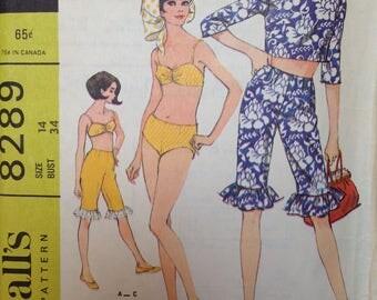 Vintage 60s Bikini Pattern Crop Top and Jellies Capris Shorts 34 bust McCalls 8289 26 waist