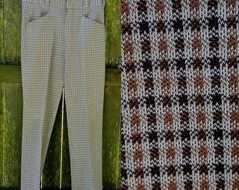 Mens 70s Plaid Pants by Jaymar, Vintage Pants, 70s Pants, Double Knit Pants, 70s Costume  Waist Size 33