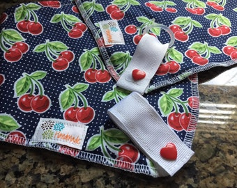 BinkBib: The bib that keeps Binky handy and Kids clean! Sweet Cherry Pinup (1 bib)