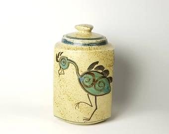 Signed Wading Bird Mexican Jar Tonala Style w Lid