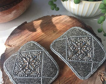 Antique French steel cut beaded shoe buckles