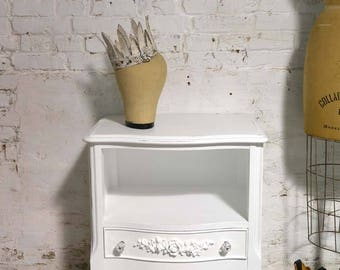 Painted Cottage Chic Shabby Romantic French Night Table NT905