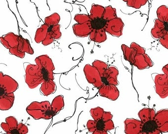 Loralie Designs - Lady in Red - Poppies - White - Fabric by the Yard 692-131