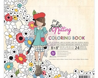 Julie Nutting watercolor paper Coloring Book 24 sheets 8 x 8
