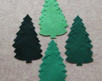 Green Acres - Large Christmas Trees #2 Value Pack - 36 Die Cut Wool Blend Felt Shapes
