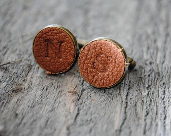 Leather Monogrammed Cuff Links -  Brown Leather - Groomsmen, Groom Gift, Father's Day Gift, Graduation Gift