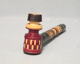 Vintage New Old Stock Hand Carved Wood Cigarette Holder / Handcrafted Wooden Pipe Collectible Tobacco Accessory Tobacciana Man Cave Decor