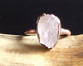 Raw Stone Crystal Ring Morganite Ring Copper Gemstone Raw Ring Raw Stone Jewelry Ring Size 7.5 Copper Morganite Ring Midwest Alchemy