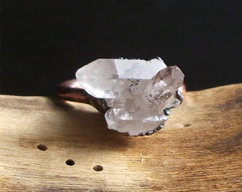 Raw Crystal Ring Quartz Copper Crystal Gemstone Ring Size 7 Midwest Alchemy Rough Stone Ring