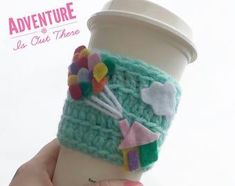 Adventure mug, coffee cup cozy, teacher gift, up house coffee mug, up pixar, disney starbucks, diseny cozie, pixar up cozie
