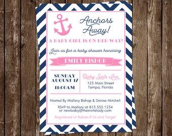 Nautical, Baby Shower Invitations, Girl, Pink, Anchor, Navy, Blue, Anchors Away, Chevron Stripes, 10 Printed Invites, FREE Shipping, Custom