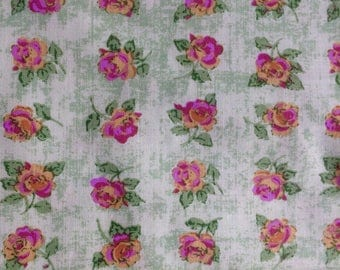 Carla Miller Rows of Roses, green pink  OOP, rare, shabby chic fabric, roses fabric small repeat, yard