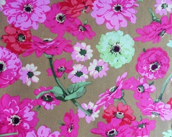 Martha Negley Zinnia, MN11, ocher, pink, OOP, rare, vhtf, by the half yard, Floral fabric