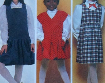 Girl's Jumper Dress Sewing Pattern UNCUT McCalls 8179 Size 7