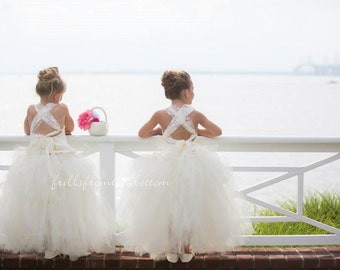 Flower Girl Dress . Tutu Skirt . Halter Top w/ Lace straps . Sizes 12mo - 5T