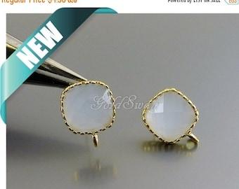 15% SALE 2 pcs / 1 pair pale dove blue-gray, alice blue color 10mm glass square earrings, bridal earrings 5155G-ALB