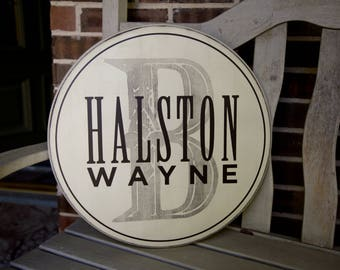 "Personalized Initial Name Sign - 18"" round - Wedding gift, baby shower, Child's room"