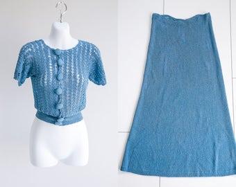1930s, Cardigan Sweater Set - Sz xS