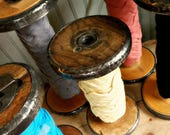 SaleToday Rustic Vintage EXtra LargeWooden Textile Mill Spool - Large - Organize Ribbons and Trims with Wood Bobbin Storage