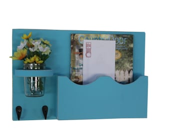 Mail Organizer - Mail Holder - Letter Holder - Large Mail Slot - Double Slots - Key Hooks - Jar Vase - Organizer - Mail Holder