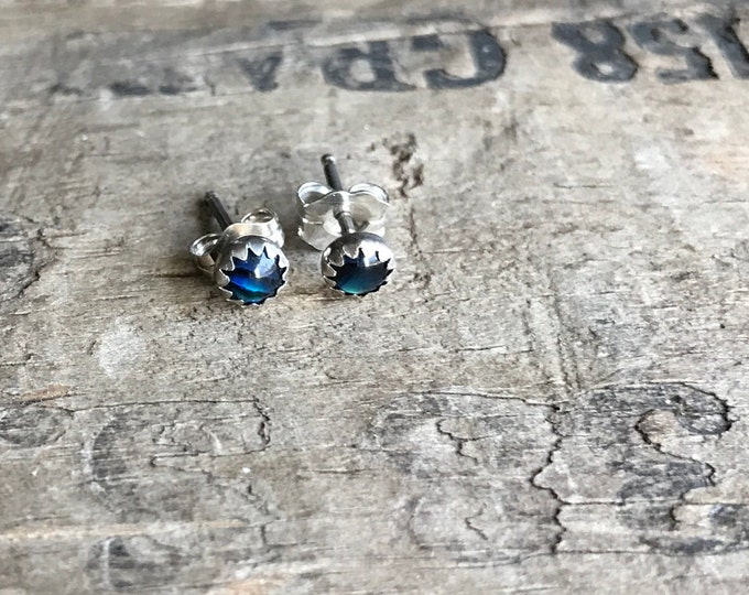 Paua shell Earrings Sterling Silver Gemstone Stud Earrings || Sterling Studs || Earrings Sterling Silver Small Earrings