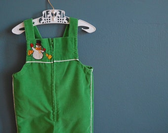 Vintage Green Corduroy Overalls with Snowman Applique- Size 6 Months