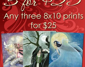Set Of 3 Prints Fantasy Art Fairy Pictures 8x10 Print Wall