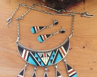 Holiday Christmas SALE Beautiful Zuni  Stone Inlay Turquoise Onyx Coral Mop Sterling Silver Vintage Necklace Earring Set Native American Jew