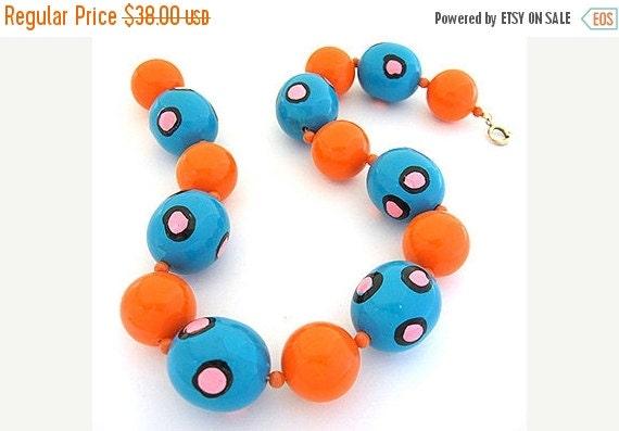 2017 New Years SALE Funky 80s Orange BLUE Egg enamel bead Vintage Necklace