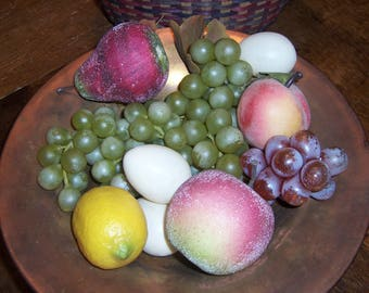 Artificial Fruit, Faux Grapes, Apple, Peach, Pear, Lemon, Eggs, Home Decor, 6 Pieces Fruit, 5 Plastic Eggs, Life Size