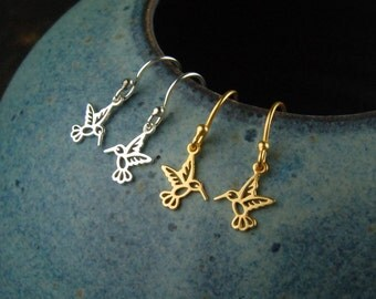 Sterling silver or gold tiny hummingbird charm earrings, hummingbird earrings, silver bird earrings, bird charm, gold hummingbird earrings