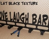 "Dog Leash Holder, ""Love Laugh Bark"" Solid steel. Hardware Included. Flat Black Texture Powder Coated finish. Made in USA, Car Keys"