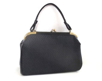 Vintage Retro Black and Gold Handbag