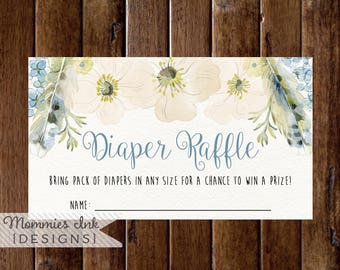 Spring Diaper Raffle Ticket, Boho Chic Floral Feathers Diaper Raffle, Watercolor Poppy Diaper Raffle, Boho Diaper Raffle, Baby Shower Raffle