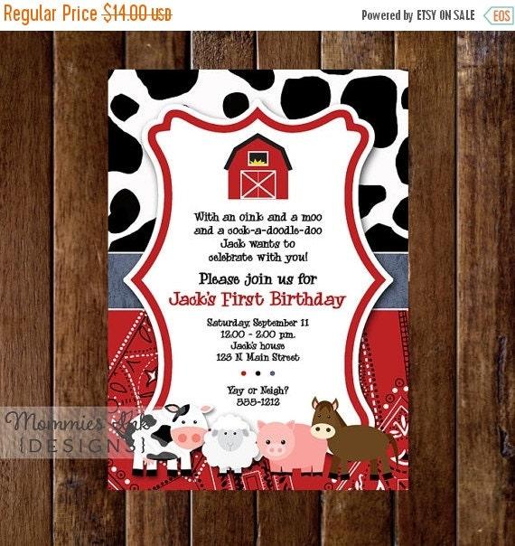 10% OFF SALE Farm Invitation, Farm Animals Birthday Party Invite, Farm Invite, Farm Party, Farm Birthday Invitation, Farm Birthday Invite, F