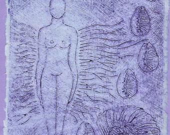 Venus of the Sea-Drypoint Collograph Monotype-Goddess- 8 x 10- Cobalt Blue