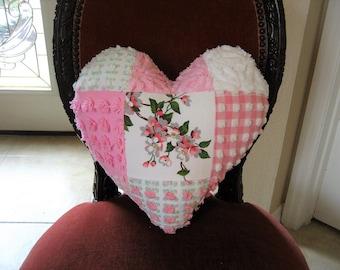Vintage Chenille Valentine Pillow Patchwork Heart - Victorian Wilendur Apple Blossom  Nosegay