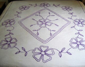 """Summery Vintage Hand Made Purple Candlewick Floral Chenille on White Muslin 98"""" x 84"""""""